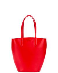 Mochila con cordón de cuero roja de Alexander McQueen