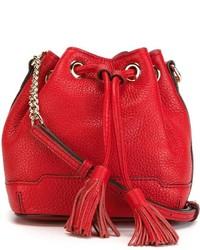 Mochila con cordón de cuero roja de Rebecca Minkoff