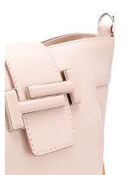 Mochila con cordón de cuero rosada de Tod's