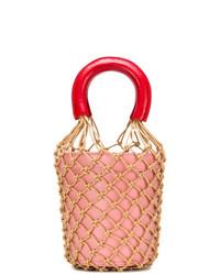 Mochila con cordón de cuero rosada de Staud