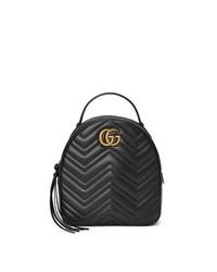 Mochila de Cuero Acolchada Negra de Gucci