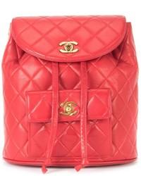 Mochila de Cuero Acolchada Roja de Chanel