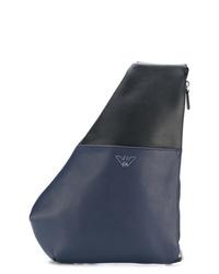 Mochila de cuero azul marino de Emporio Armani