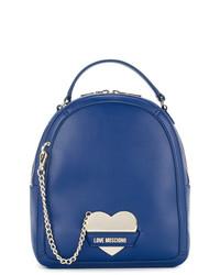 Mochila de Cuero Azul de Love Moschino