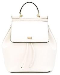 Mochila de Cuero Blanca de Dolce & Gabbana