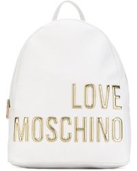 Mochila de cuero blanca de Love Moschino