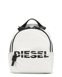 Mochila de cuero estampada blanca de Diesel