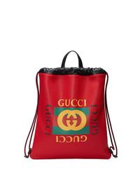 Mochila de cuero estampada roja de Gucci