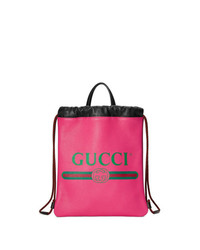 Mochila de cuero estampada rosa de Gucci