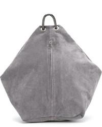Mochila de cuero gris de MM6 MAISON MARGIELA