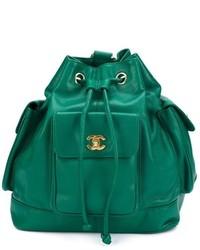 Mochila de Cuero Verde de Chanel