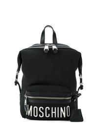 Mochila estampada en negro y blanco de Moschino