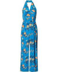Mono de seda con print de flores azul de Diane von Furstenberg