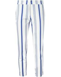 Pantalón Capri de Rayas Verticales Blanco y Azul Marino de Etro