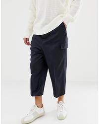 Pantalón cargo de lana azul marino