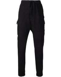 Pantalón cargo de lana negro