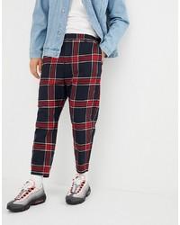 Pantalón chino a cuadros burdeos