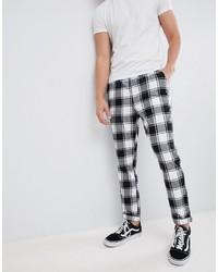Pantalón chino a cuadros en blanco y negro