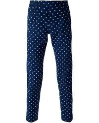 Pantalón chino con print de flores azul marino de Paolo Pecora
