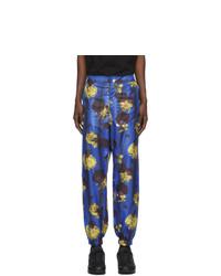 Pantalón chino con print de flores azul