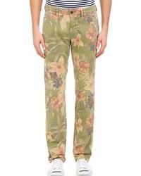 Pantalón chino con print de flores verde oliva