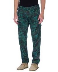 Pantalón chino con print de flores verde oscuro