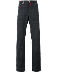 Pantalón chino de lana a cuadros en gris oscuro de Kiton