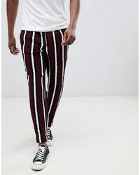 Pantalón chino de rayas verticales burdeos