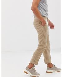 Pantalón chino de rayas verticales marrón claro