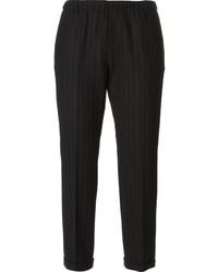 Pantalón chino de rayas verticales negro de Alberto Biani