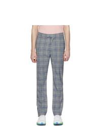 Pantalón chino de tartán celeste