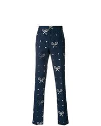 Pantalón chino estampado azul marino de Thom Browne