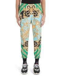 Pantalón chino estampado en verde menta