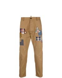 Pantalón chino estampado marrón claro de DSQUARED2