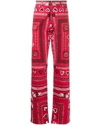 Pantalón chino estampado rojo de Versace