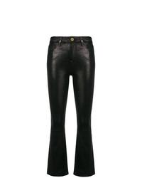 Pantalón de campana de cuero negro de Frame Denim