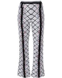 Pantalón de Campana de Lana Blanco de Missoni