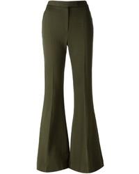 Pantalón de campana de lana verde oliva de Alexander McQueen