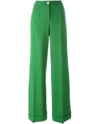 Pantalón de campana de lana verde de Dolce & Gabbana