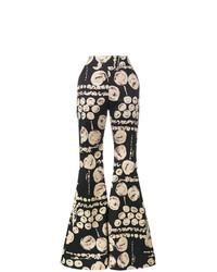 Pantalón de campana estampado negro de Beaufille