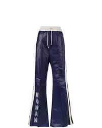 Pantalón de chándal de cuero azul marino de Off-White