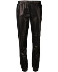 Pantalón de chándal de cuero negro de Michael Kors