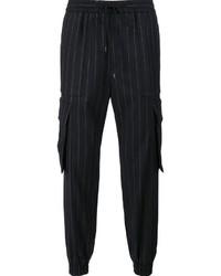 Pantalón de chándal de lana de rayas verticales azul marino de Juun.J