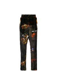 Pantalón de chándal de terciopelo con print de flores negro de Palm Angels