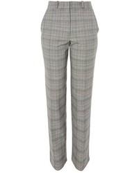 Pantalón de pinzas a cuadros gris