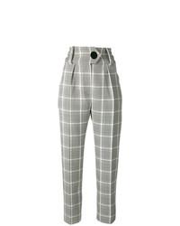 Pantalón de pinzas a cuadros gris de Petar Petrov