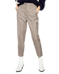 Pantalón de pinzas a cuadros marrón claro