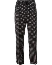 Pantalón de pinzas a lunares en negro y blanco de Dolce & Gabbana