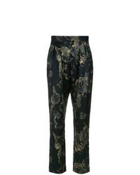 Pantalón de pinzas con print de flores negro de Andrea Marques