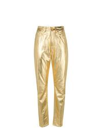 Pantalón de pinzas de cuero dorado